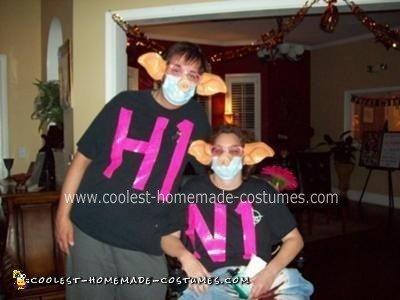Homemade Swine Flu Couple Costume