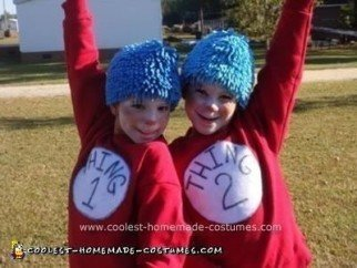 Homemade Thing 1 and Thing 2 Halloween Costumes