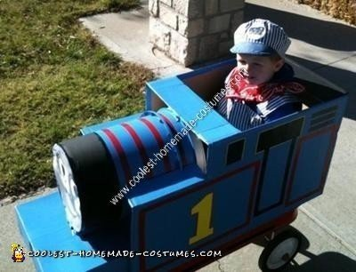 Homemade Thomas the Tank Engine Child Halloween Costume Idea