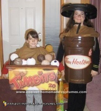 Homemade Tim Horton's Coffee and Box Of Timbits Costumes