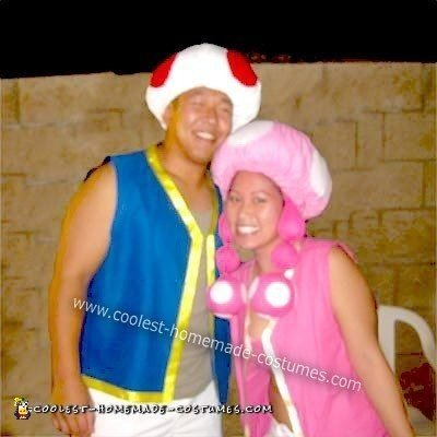 Homemade Toad and Toadette From Mario Brothers Couple Costume