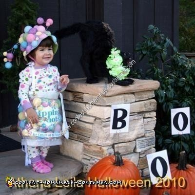 Homemade Toddler Dippin' Dots Ice Cream Halloween Costume