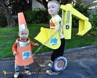Homemade Traffic Cone Toddler Halloween Costume
