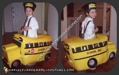 Homemade Yellow School Bus Halloween Costume