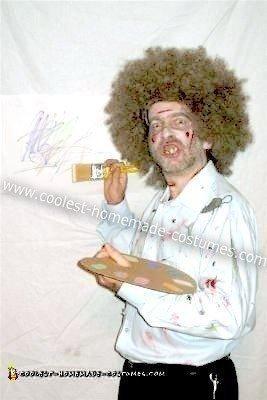 Homemade Zombie Bob Ross Costume