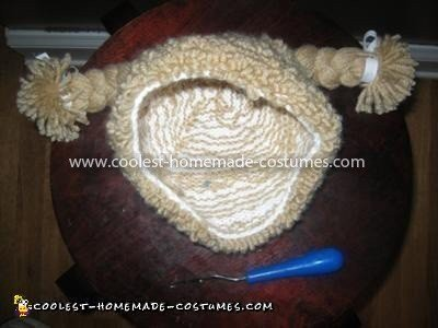 Coolest Infant Cabbage Patch Kid Costume - Wig and Latch Hook tool used to make her yarn wig/hat