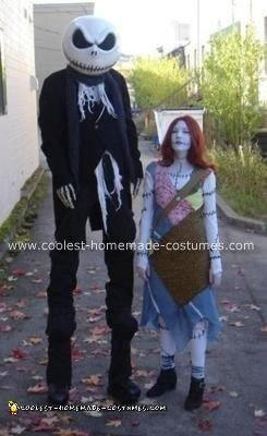 Homemade Jack Skellington and Sally Rag-Doll Costumes from The Nightmare Before Christmas