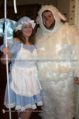 Homemade Lil Bo Peep and her Sheep Couple Costume