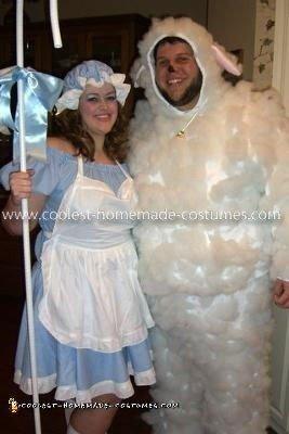 Homemade Lil Bo Peep and her Sheep Couple Costume