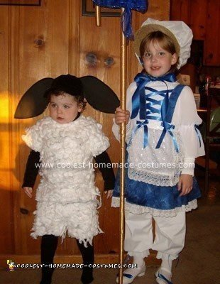 Homemade Little Bo Peep and Her Little Sheep Costume