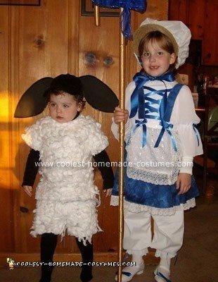 Homemade Little Bo Peep and Her Little Sheep Costume