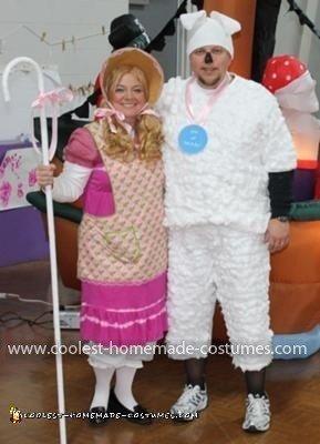 Homemade Little Bo Peep and Sheep Couple Costume