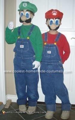 Homemade Mario and Luigi Halloween Costumes