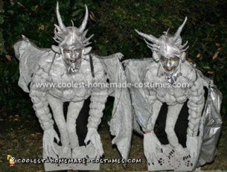 Coolest Medieval Gargoyles on Stone Pedestals Couple Costume
