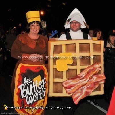 Homemade Mrs. Butterworth and Waffle Couple Costume