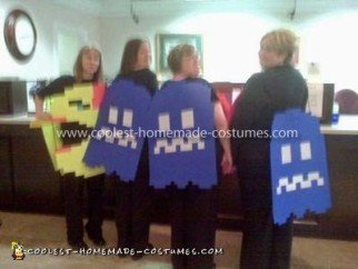 Homemade Ms. Pacman and Ghosts Group Costume