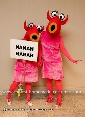 Homemade Muppet Manah Manah Couple Costume
