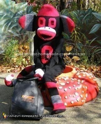 Homemade Ohio State Buckeye Sock Monkey DIY Halloween Costume