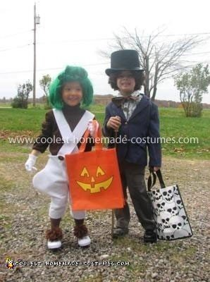 Homemade Oompa Loompa and Willy Wonka Costumes