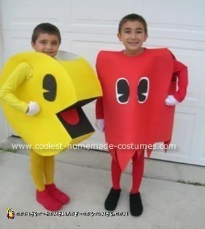 Homemade Pacman and Blinky Costumes