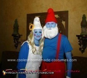 Homemade Papa Smurf and Smurfette Costume