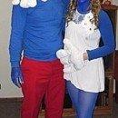 Homemade Papa Smurf and Smurfette Couple Costume