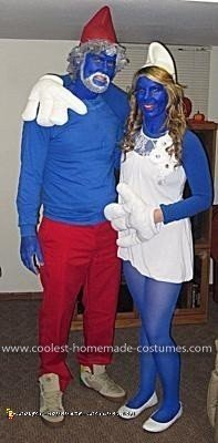 Homemade Papa Smurf and Smurfette Couple Costume