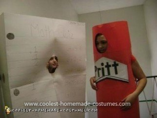 Homemade Paper and Glue Stick Couple Costume