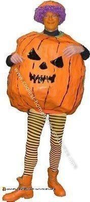 Homemade Paper Mache Pumpkin Costume