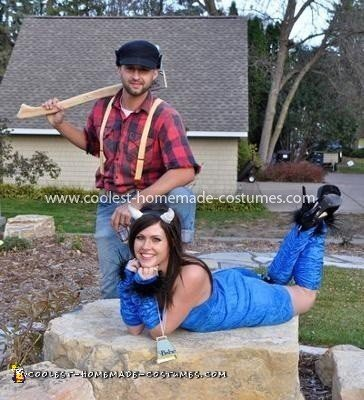 Coolest Paul Bunyan and Babe the Blue Ox Couple Costume  5