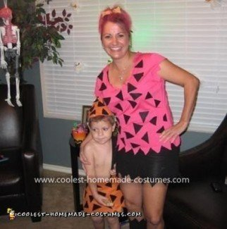 Homemade Pebbles and BamBam Costume