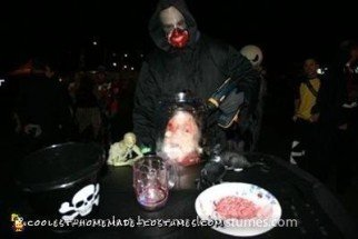 Homemade Pickled Head in a Jar and Wheelchair Table Costume