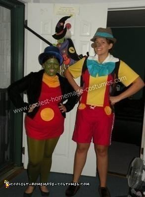 Pinocchio and Jiminy Cricket Couple Costume - best for one tall and one short friend...