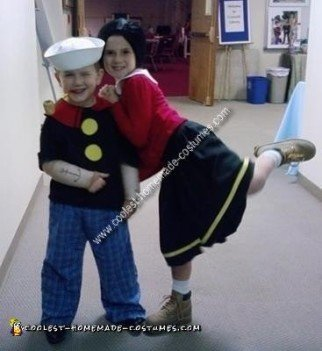 Homemade Popeye and Olive Oyl Child Couple Costume Idea