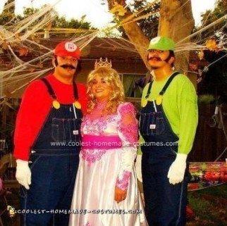 Homemade Princess Peach, Mario and Lugi Costumes