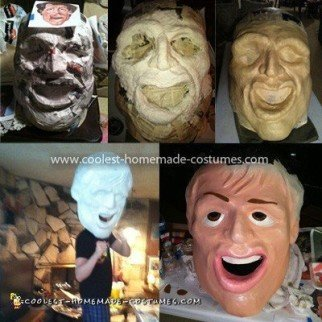 Coolest Rocky Costume - Papier Mache initial stages of Rocky head
