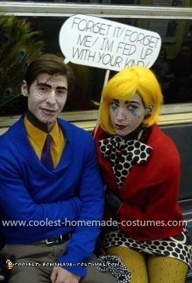 Homemade Roy Lichenstein's Pop Art Couple Costume