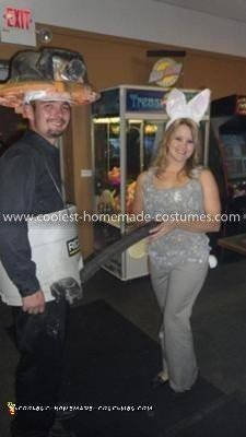 Homemade Shop Vac and Dust Bunny Couple Costume