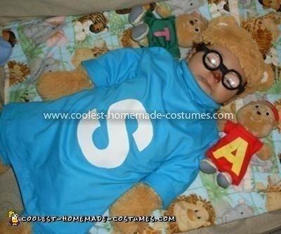 Homemade Simon Chipmunk Baby Costume
