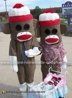 Homemade Sock Monkey Family Costume