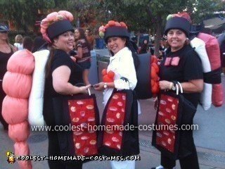 Shrimp Costume (Kamaile), Tobiko Roll Costume (Angel), and Ahi (Gretchen)