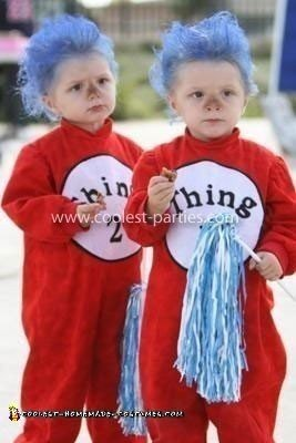 Homemade Thing 1 and Thing 2 Twins Costume