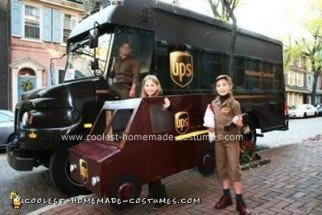 Homemade UPS Delivery Person and Truck Costume