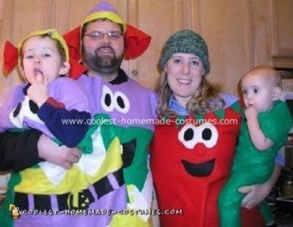 Homemade Veggie Tales Family Costumes - Larryboy, Bob and Pea
