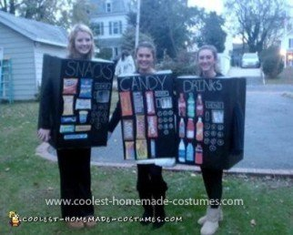 Coolest Vending Machine Threesome Costume - Christina, Raven, and me (Melissa) on Halloween day