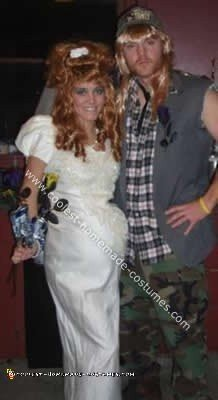 Homemade White Trash Bride and Groom Costume