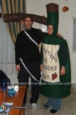 Homemade Wine Bottle and Cork Screw Couple Costume