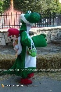 Homemade Yoshi Costume from Mario Brothers