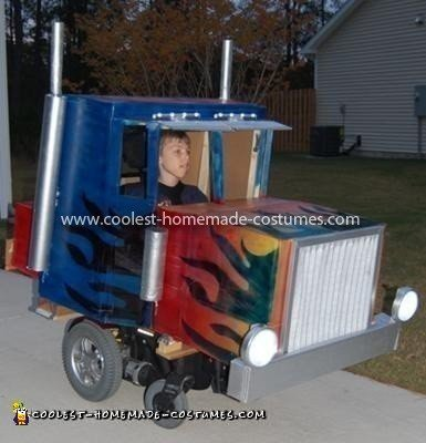 Gavins Optimus Prime Wheelchair Costume 34