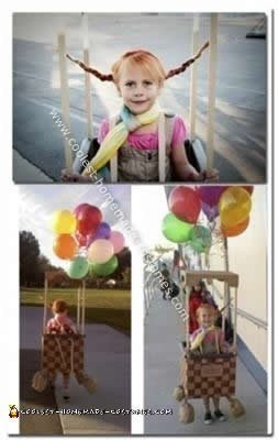 Homemade Pippi Longstocking in a Hot Air Balloon Costume